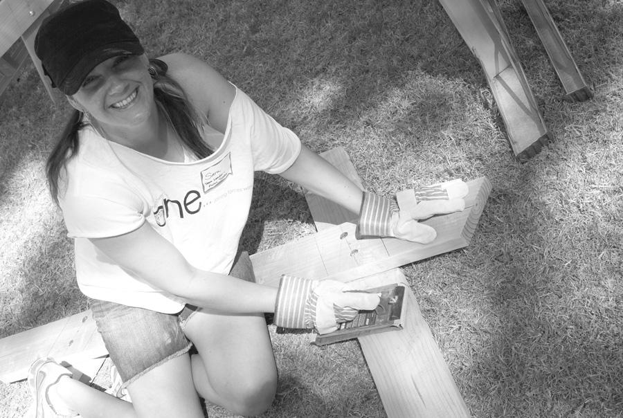 assembling the picnic tables