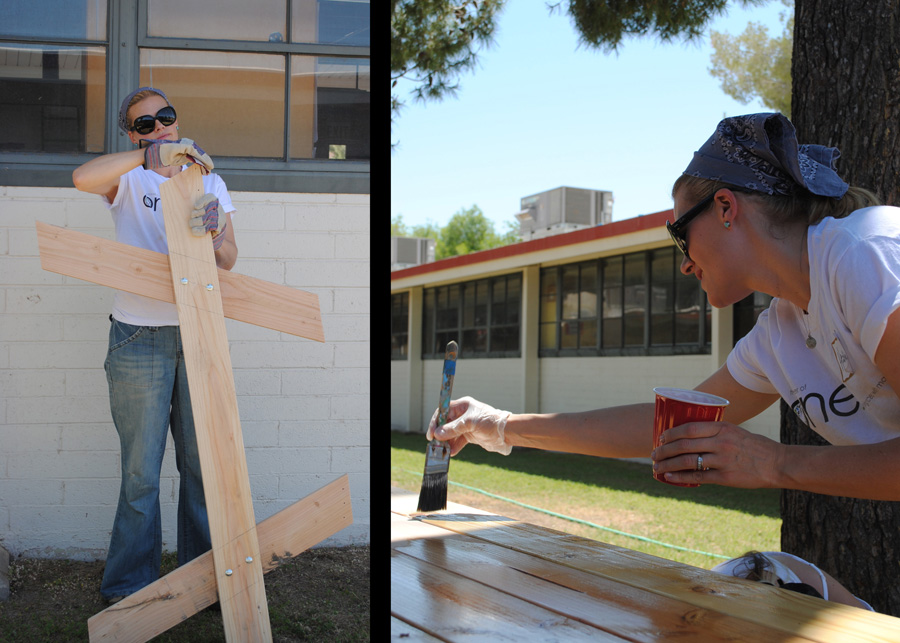 assembling and staining the new picnic tables