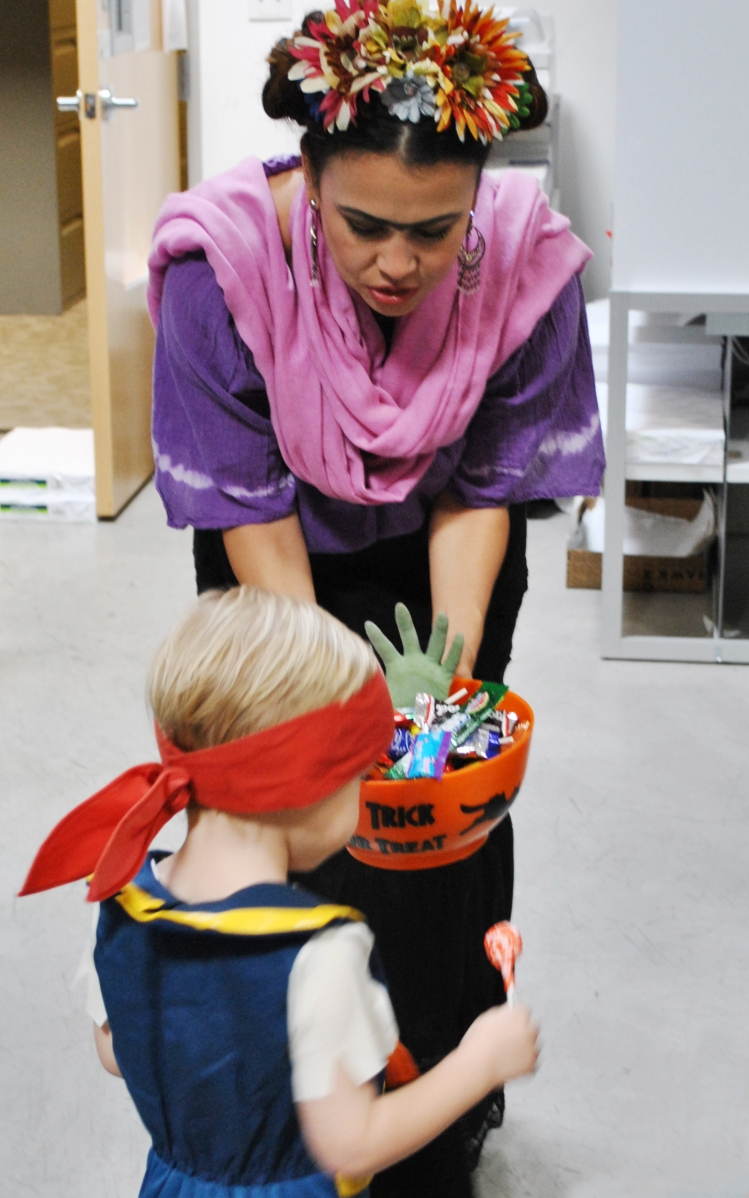 a pirate trick or treating at the office